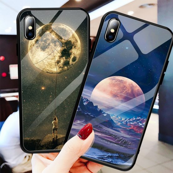 Glass Case For iPhone XS Max XR X 8 11 Pro Max Case Silicon Slim Tempered Glass Glass Case For iPhone XS Max XR X 8 11 Pro Max Case Silicon Slim Tempered Glass Starry sky For iPhone 8 7 Plus 6 6s 8Plus 11 Pro.