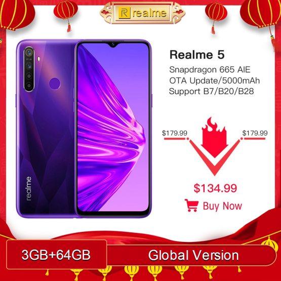"Global Version realme 5 3GB RAM 64GB ROM 6.5"" Moblie Phone Snapdragon 665 AIE Octa Core Cellphone 5000mAh Smartphone"