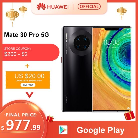 Original Huawei Mate 30 Pro 5G Smartphone Kirin990 5G 40MP Triple Cameras 32MP Front Camera 6.53'' Full Screen 27W Wireless QC