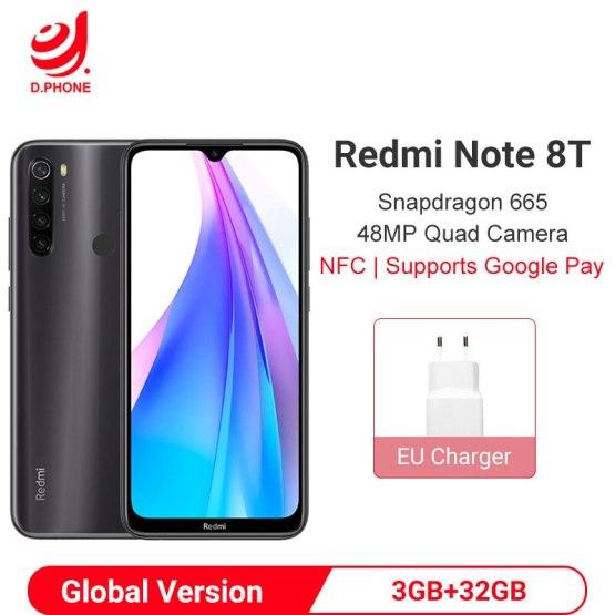 Global Version Xiaomi Redmi Note 8T 3GB 32GB Smartphone Snapdragon 665 Octa Core 48MP Quad Camera 4000mAh NFC Mobile Phone