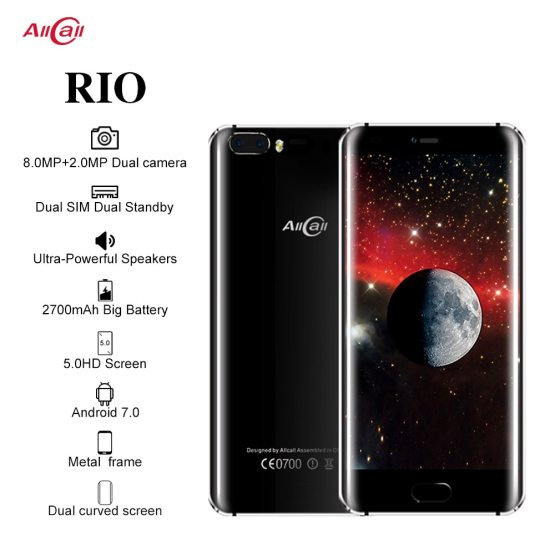 Original Allcall Rio 5.0 Inch IPS Rear Cams Android 7.0 Smartphone MTK6580A Quad Core 1GB RAM 16GB ROM 8.0MP OTG 3G Mobile Phone