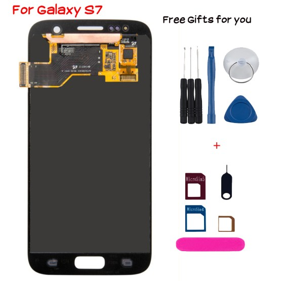 New Lcd display for Samsung Galaxy S7 with frame touch screen Assembly Replacement G930 G930F Digitizer smartphone OLED module