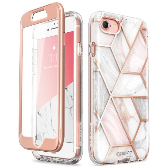For iPhone SE 2020 Case For iPhone 7/8 Case 4.7 inch i-Blason Cosmo Full-Body Marble Bumper Cover WITH Built-in Screen Protector