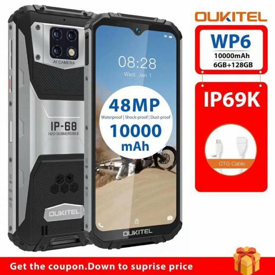 "OUKITEL WP6 6G RAM 128G ROM 6.3"" Smartphone Octa Core IP68 Waterproof 9V/2A 10000mAh Battery 48MP Triple Camera Mobile Phone"