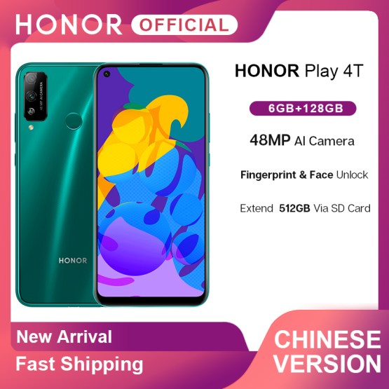 New Arrival Honor Play 4T 4 T Play4T Smartphone 6GB 128GB 6.39'' 48MP AI Camera Fingerprint Face ID Smartphone Android 10 OTA