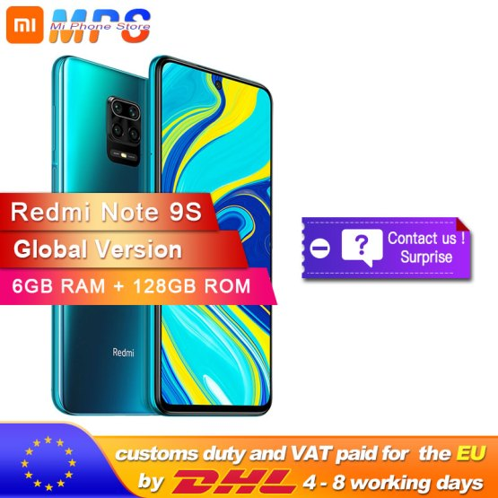 Global Version Xiaomi Redmi Note 9S 128GB 6GB smartphone Snapdragon 720G Octa core 5020 mAh 48MP Quad Camera Note 9 S