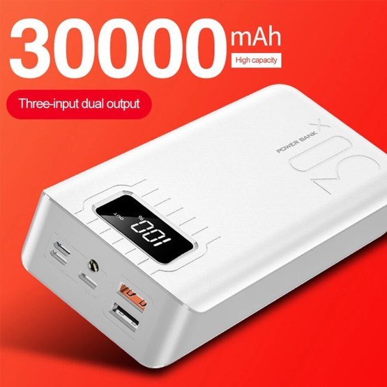 2020 New Power Bank 30000mah 3 input Display External Portable Charger PoverBank Double USB for Xiaomi iphone Samsung Huawei