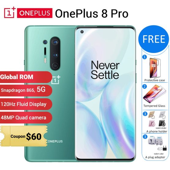"Global ROM Oneplus 8 pro 5G Mobile Phone 12GB 256GB /8GB 128GB 6.78"" 120Hz Snapdragon 865 48MP 4510mAh NFC 5G Smartphone"