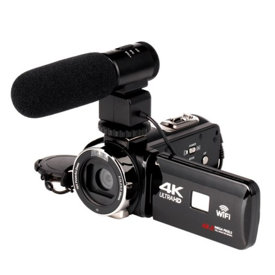 4K Camcorder 48MP Night Vision WiFi Control Digital Camera 3.0 Inch Touch-Sn Video Camcorder with Microphone