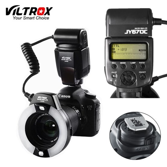 Viltrox JY-670C DSLR Camera photo LED TTL Macro Ring Lite Flash Speedlite Light for Canon 1300D 800D 77D 5D Mark IV 7D II 6D 80D