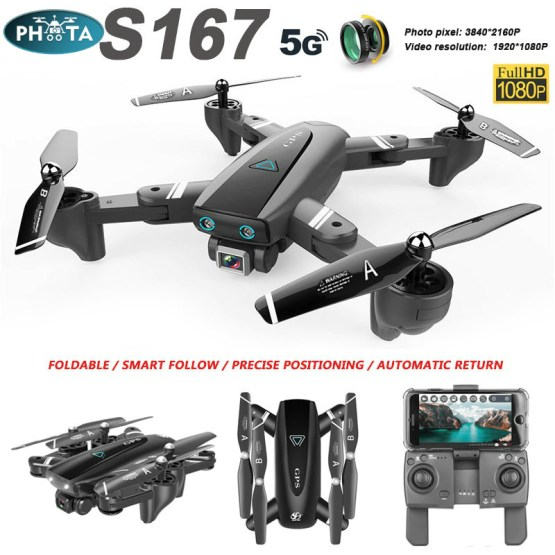 S167 Drone 4K profesional With HD Camera GPS Drone 5G/2.4G WiFi FPV follow me RC Quadcopter Long Flight time Drones VS SG907