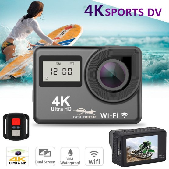 """4K WiFi Action Camera 2.0"""" Touch Screen 12MP 170D Sports Camera 30M Underwater Waterproof Heltmet Video Recording Camera"""