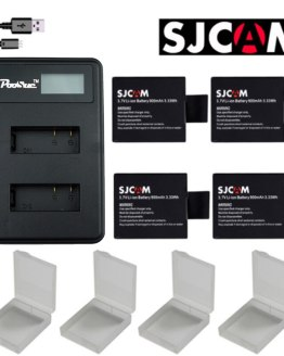 4x Sj 4000 Battery + LCD Dual Charger for SJCAM 4000 wifi sj 7000 SJ4000 SJ5000 Sj6000 Sj7000 Sj8000 Sj9000 M10 EKEN 4k wi fi