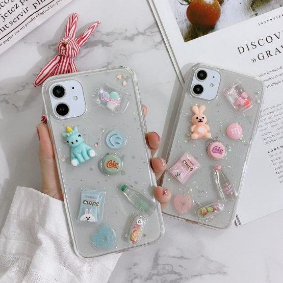 Drink bottle small doll Epoxy phone case For iPhone 11 Pro X XS MAX XR 6S 7 8 Plus For huawei mate 20 30 P20 30 Nova 5 6 Cover