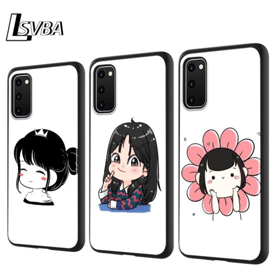 Cute Cartoon Small Girl Silicone Phone Cover For Samsung Galaxy S20 Ultra Plus A01 A11 A21 A31 A41 A51 A71 A91 Phone Case
