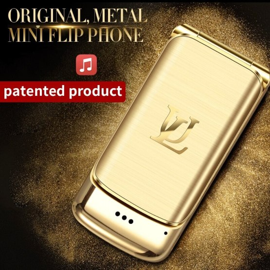 V9 Metal Mini Men's Business Flip Mobile Double Card Card Small Phone Personality Ultra-thin Pocket Reserve