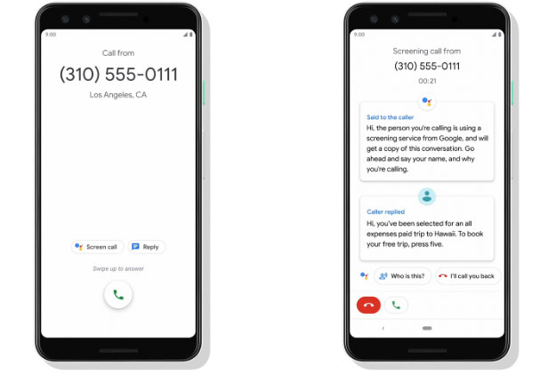 Google pixel call screen with AI