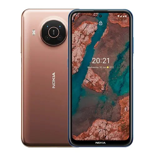 Nokia X20 front and Brown Back