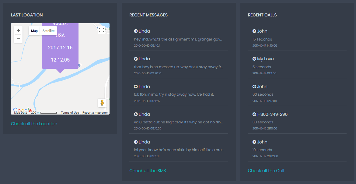 Other features of Phone Tracker application
