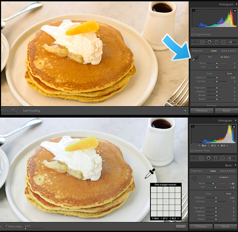 Pancakes Before and After Food in focus, color correct food photography