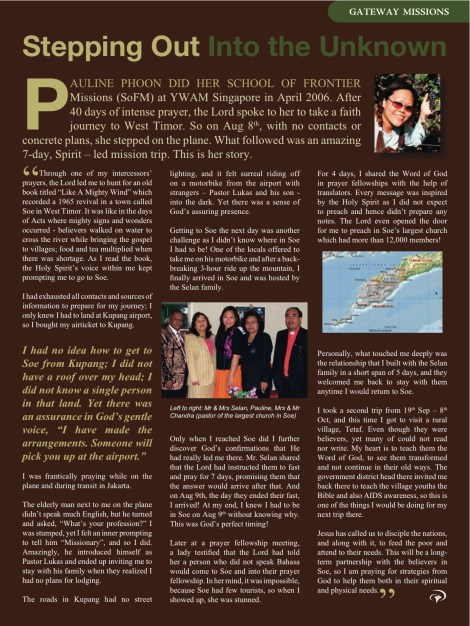 Article on Faces (YWAM Singapore Publication) in 2009