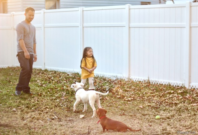 Reth and Daughter with their Dogs