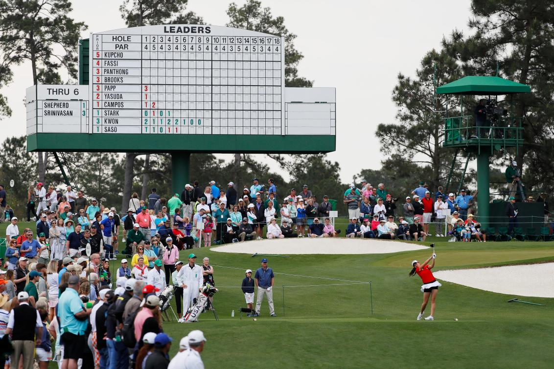 AUGUSTA, GEORGIA - APRIL 06: Rose Zhang of the United States plays her shot from the third tee during the final round of the Augusta National Women's Amateur at Augusta National Golf Club on April 06, 2019 in Augusta, Georgia. (Photo by Kevin C. Cox/Getty Images) image