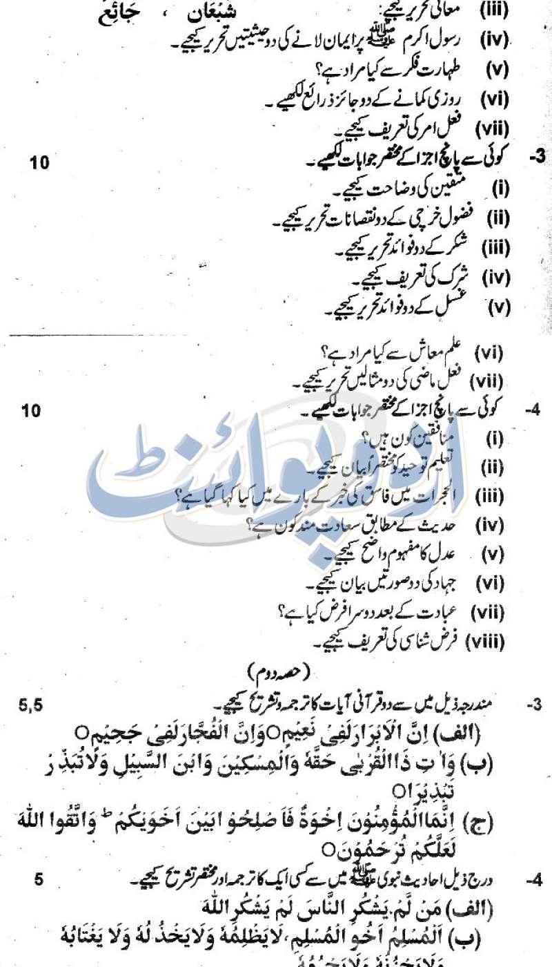 BISE Faisalabad Islamiat Elective, Subjective Part Paper