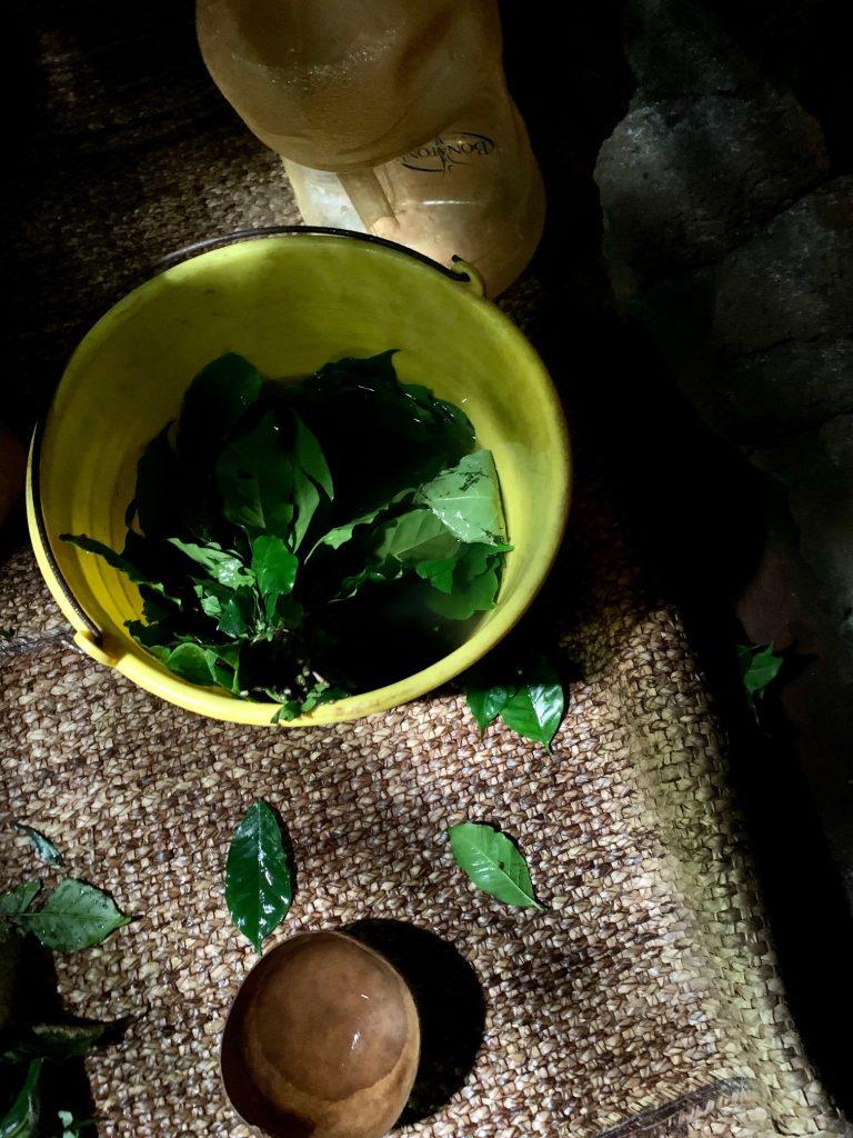 Herbal infusion, inside the temazcal, Tepoztlan, Mexico ©2019, Cyndie Burkhardt.