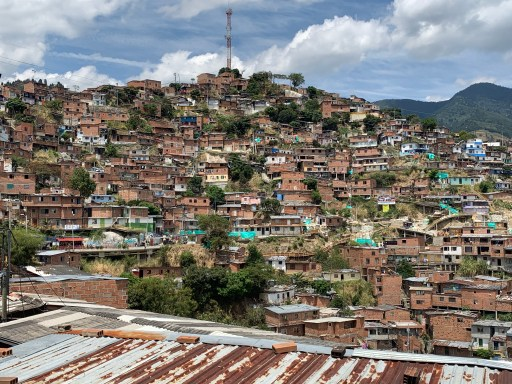 Medellin's rural mountainside is densely populated; poverty, insecurity, and crime can make for a stressful life.