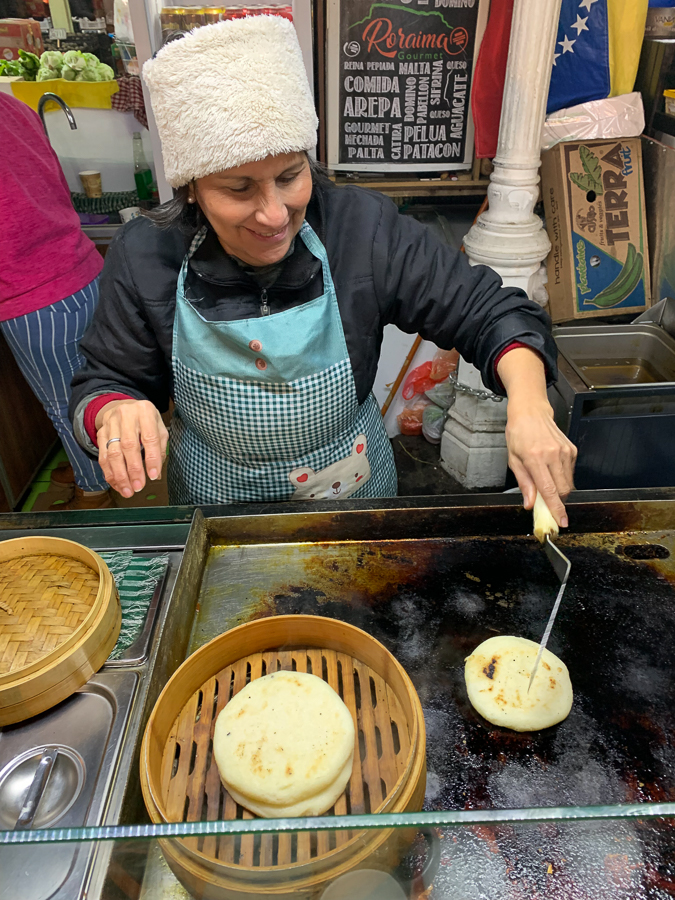 Arepas, La Vega Central Market, Santiago, Chile ©2019, Cyndie Burkhardt.