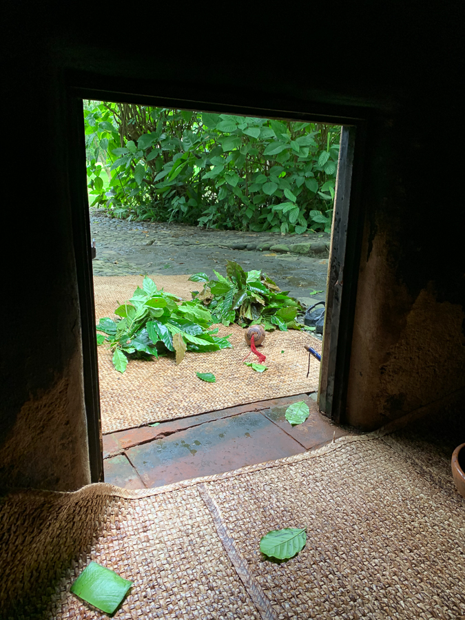 Inside temazcal, looking out, Tepoztlan, Mexico ©2019, Cyndie Burkhardt.