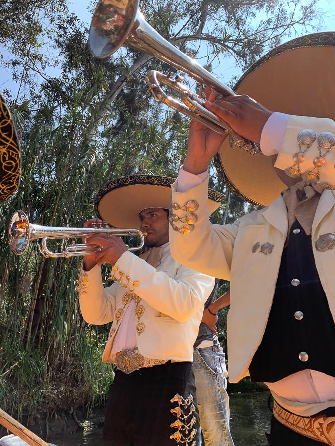 Mariachi band on trajinera, Xochimilco, Mexico ©2019, Cyndie Burkhardt