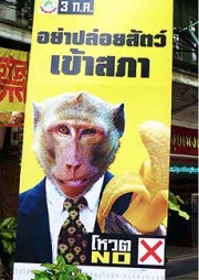 "Thailand's royalist, right-wing ""yellow-shirts"" are calling for people not to vote in the Thailand 2011 general election with campaign signs such as this."