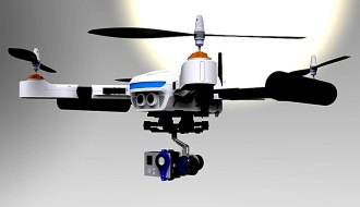 A pre-production PlexiDrone fitted with gimbal and GoPro camera with undercarriage retracted - 360 degree uninterrupted view