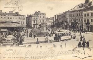 Трамвай на площі Краківській (тепер площа Ярослава Осмомисла) (1904-1905)