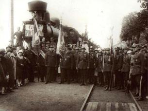 Польські війська на станції Львів 1919 рік.