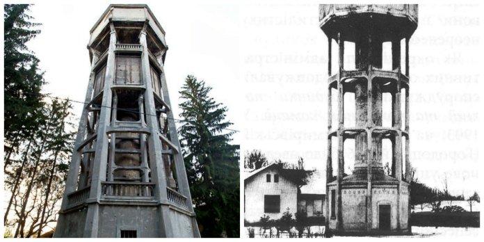 Вежа на Кульпаркові - сучасний вигляд - ліворуч, і початковий варіант, до реконструкції 1930 року.