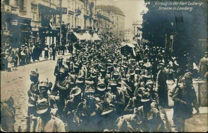 Частини 2 - ої австро - угорської армії на нин. пр - ті Свободи, 22.06.1915 р.
