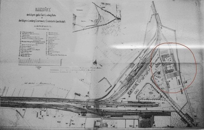 Схема залізничної станції Львів, червоним обведено локомотивні майстерні