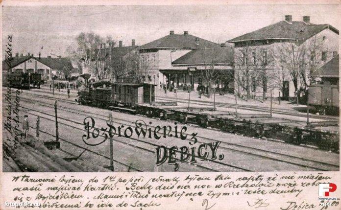 Залізнична станція у Дембіці, поштівка
