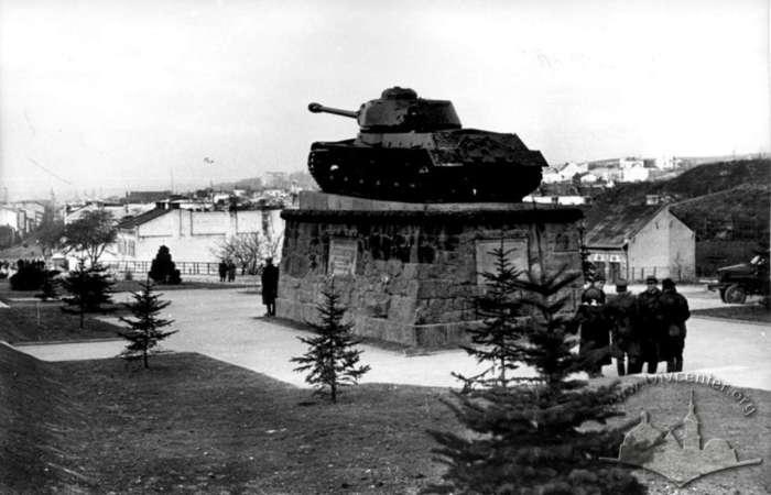 Вид на Личаків від монументу танкістам, фото 1950 - 1955 рр.