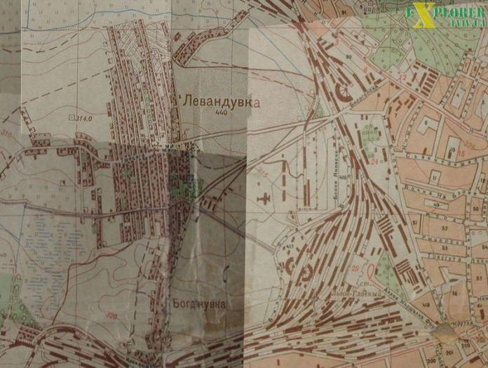 Фрагмент мапи 1929 року, де зображено розташування летовища.