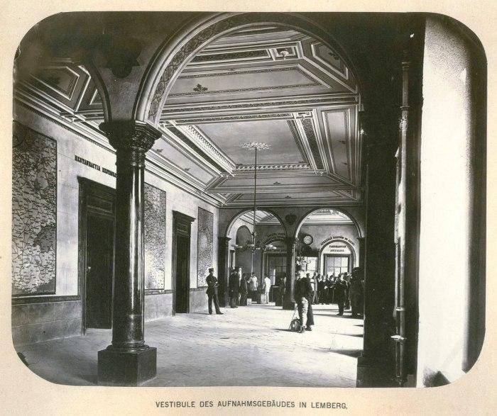 Чернівецький вокзал, вигляд інтер'єру, фото кінця ХІХ століття