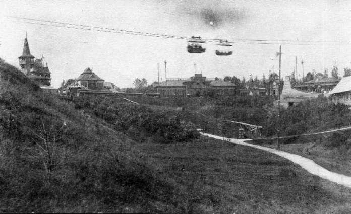 Канатна дорога на газовому двигуні. Фото 1894 року