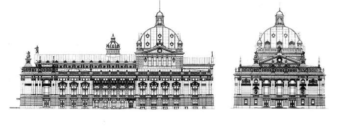Розріз бічного фасаду Львівської Опери на кресленнях 1896 року