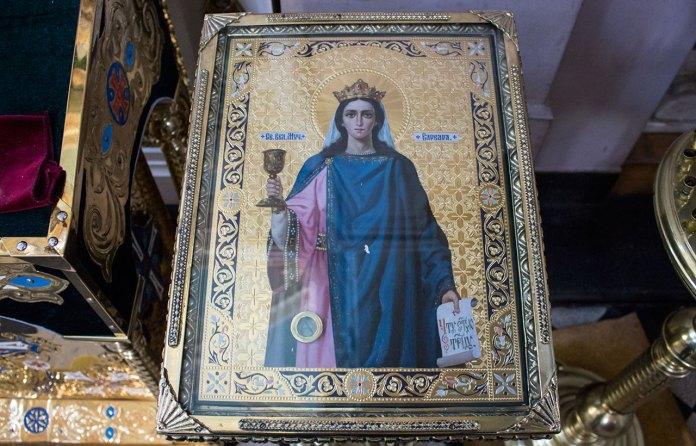 Ікона Святої Великомучениці Варвари з часточкою мощей