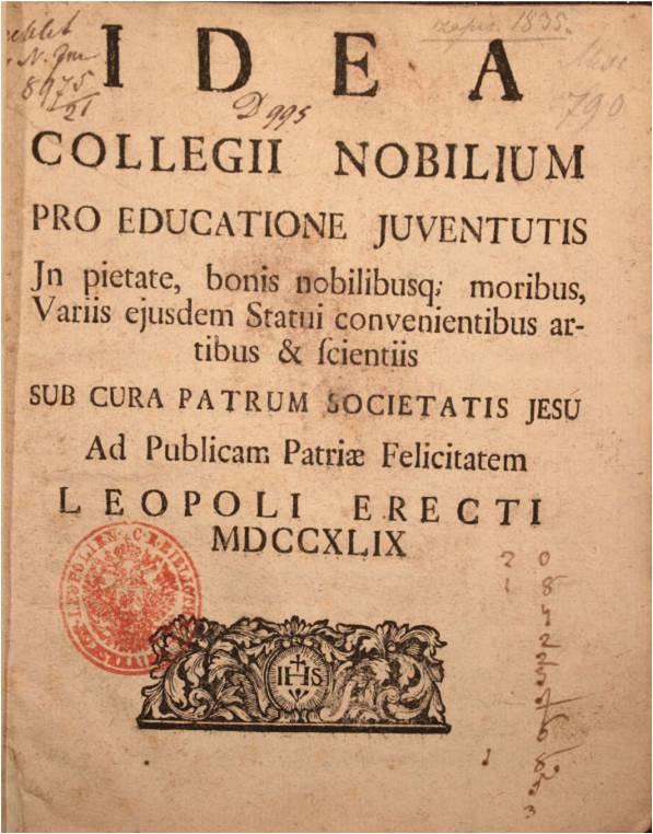 """Трактат професора львівського університету Юзефа Ґльовера """"Idea collegii nobilium""""."""