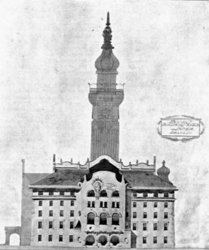 Бічний фасад проекту ратуші архітекторів Стриєнського та Манчинського. 1908 рік
