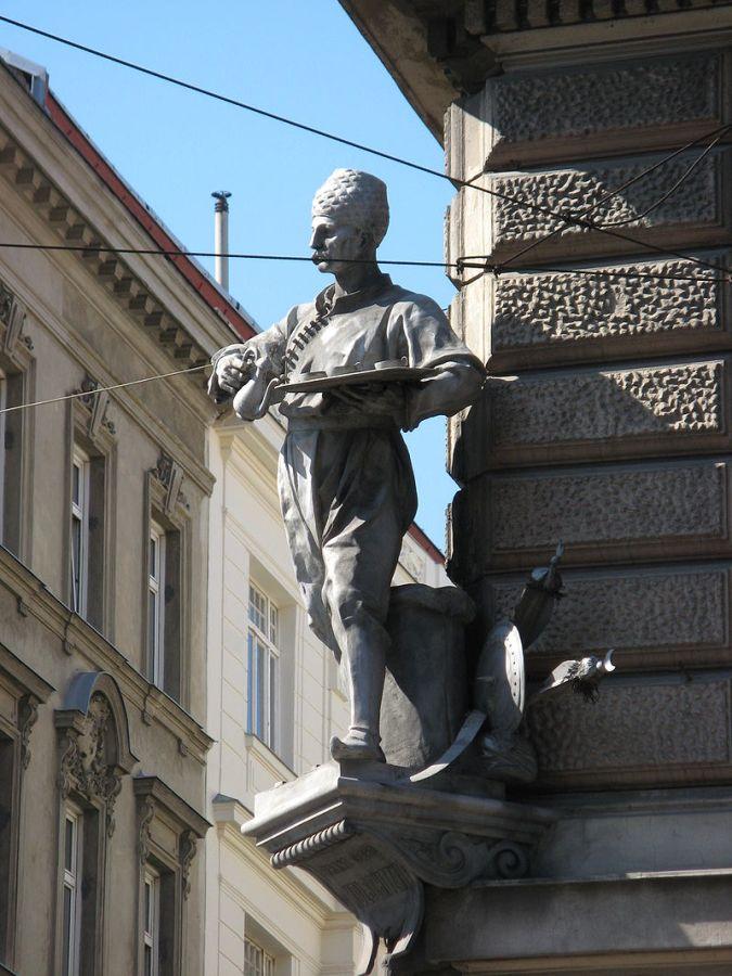 Пам'ятник Юрію Кульчицькому у Відні.